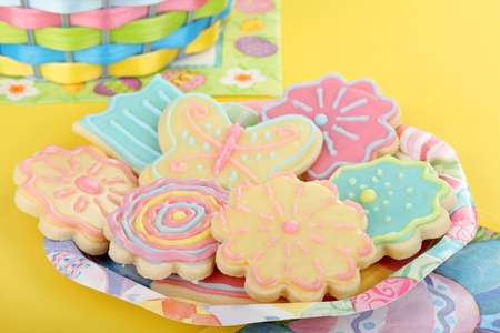 Plate of easter sugar cookies shaped as flowers and butterfly Stock Photo - 17477039