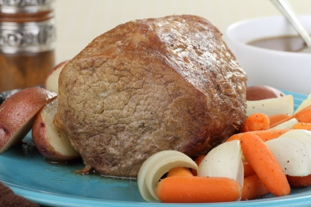 Round roast with carrots, onions and potatoes Stock Photo - 17596849