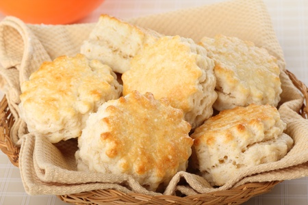 flaky: Flaky homemade biscuits served in a basket