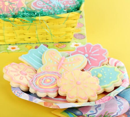 Colorful sugar cookies shaped as flowers and butterflies Stock Photo - 17716999