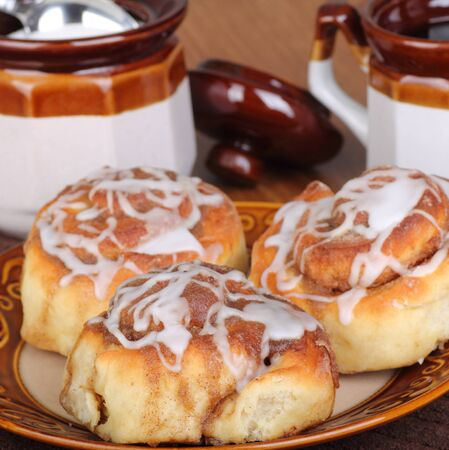 Cinnamon rolls on a plate with coffee Stock Photo - 17717006