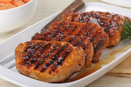 Glazed grilled pork loin on a serving dish