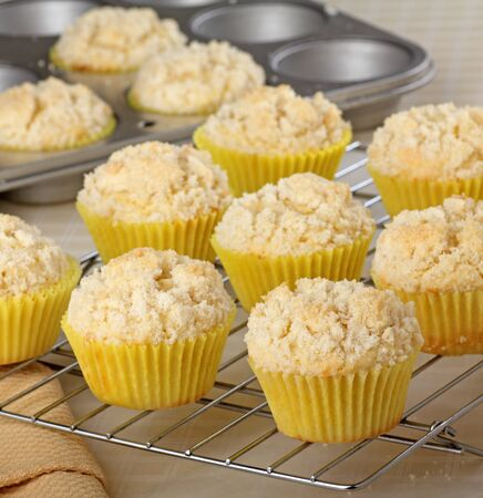 Lemon muffins in muffin cups on a rake