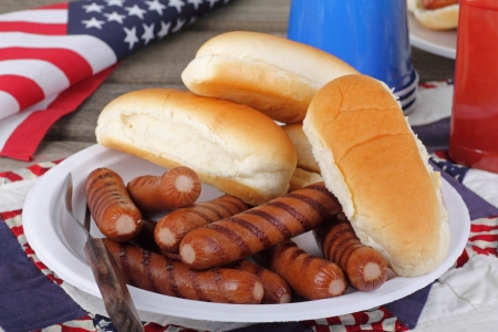 hot day: Grilled hotdogs and buns on a plate with american flag in background Stock Photo