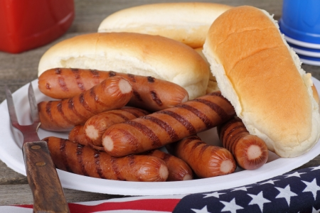 Grilled hot dogs and buns on a plate photo