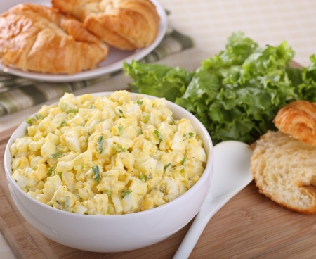 Egg salad in a bowl for making sandwiches