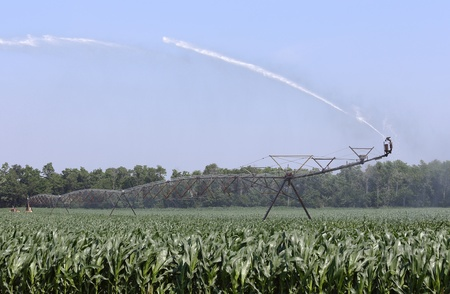Agricultural irrigation equipment watering a corn field Stock Photo