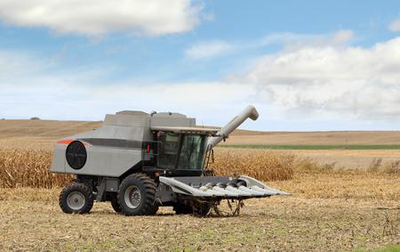 farm implement: Gray farm combine in a corn field