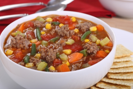 ground beef: Closeup of a bowl of vegetable beef soup