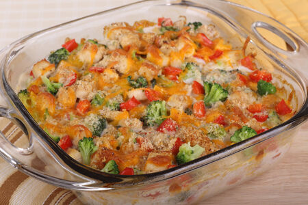 Chicken and broccoli casserole with red pepper and cheese