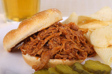 Closeup of a pulled pork barbecue sandwich Stock fotó
