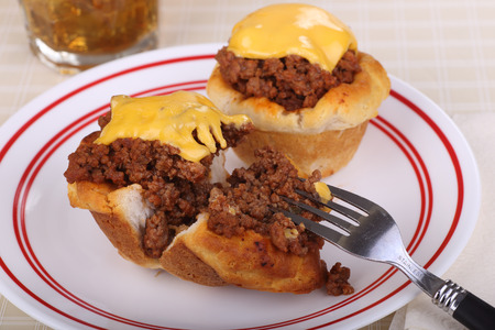 sloppy: Two biscuits with sloppy joe meat and melted cheese