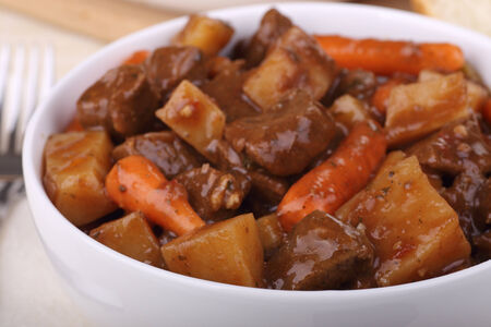 Closeup of a bowl of beef stew