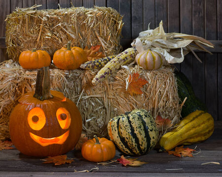 Night scene of a smiling pumpkin with gourds and squash against a fence