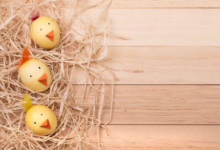 Decorated Easter eggs to look like chicks on a wood background for copy space Banco de Imagens
