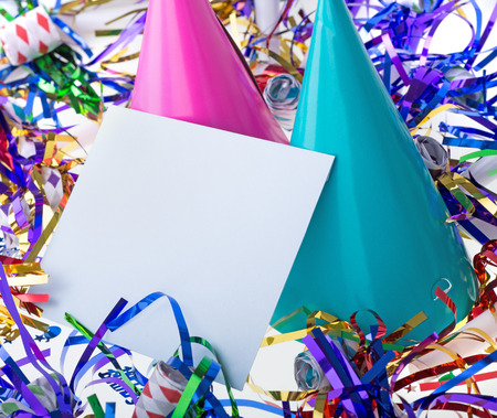 Blank envelope surrounded by birthday decorations Banco de Imagens
