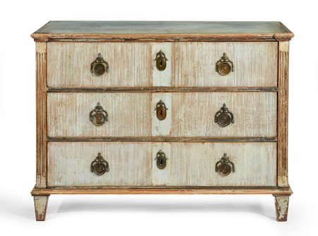 cupboard: old antique wooden painted chest of drawers European, french early 1900 isolated