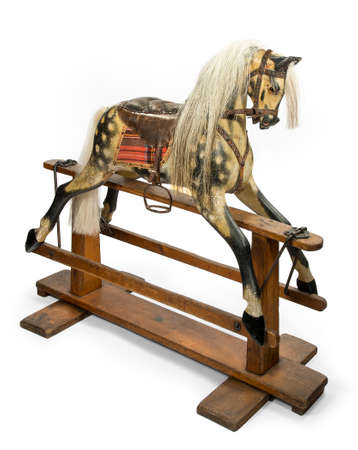 old antique carved wooden rocking horse original made by The Baby Carriage Company circa 1890 photo