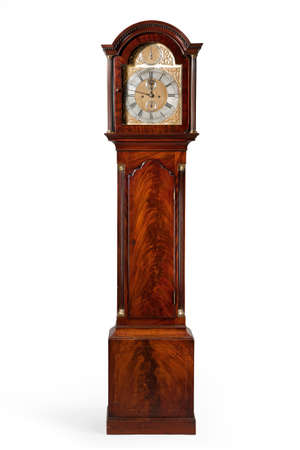 clock: English antique tall long case clock known as grandfather clock for halls Stock Photo