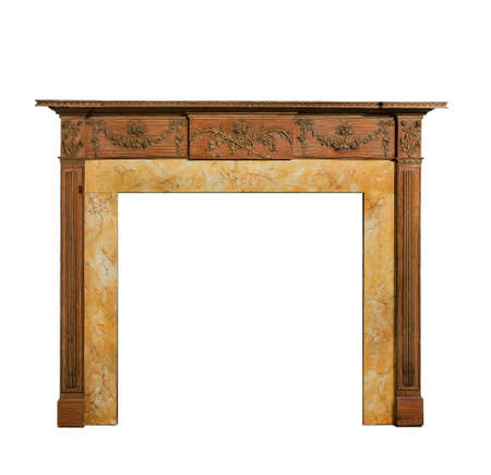 Old antique fireplace surround in pine and Adams style with plasterwork and carving isolated on white