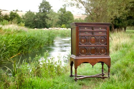 mahogany: early old antique chest on stand mahogany circa 1660 - 1680 by the windrush river burford england
