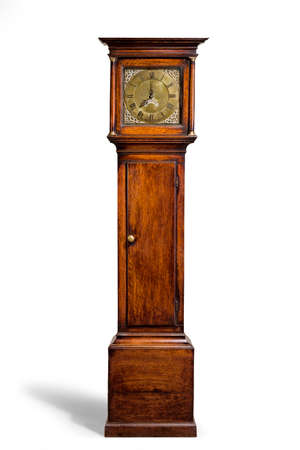 English antique tall long case clock known as grandfather clock for halls 免版税图像