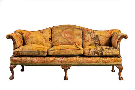 vintage furniture: sofa antique sofa settee with old original tapestry upholstery isolated on white with clip path