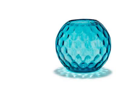 dimple: old vintage antique blue glass  vase with striking dimple pattern effect