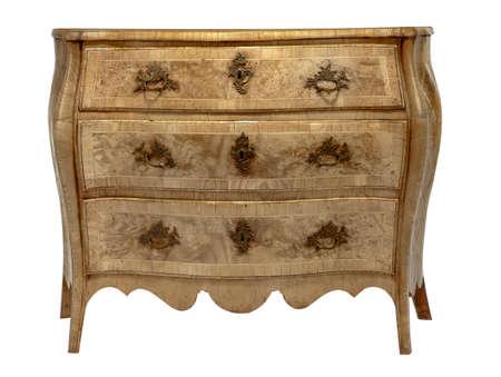 oude antieke houten ladenkast Europese detaied inlegwerk Stockfoto