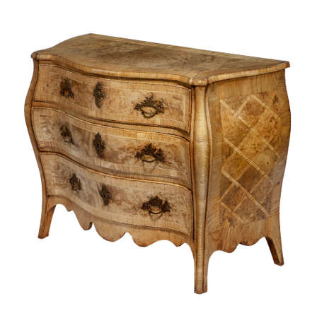 marquetry: old antique wooden chest of drawers European detaied marquetry