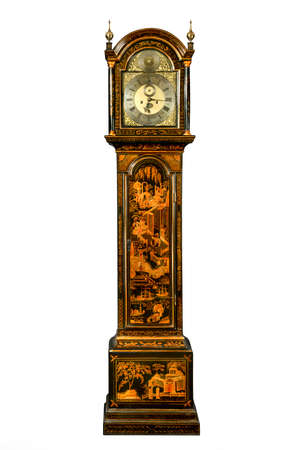 English antique tall long case clock known as grandfather clock for halls Japanned chinoiserie lacquered to look oriental