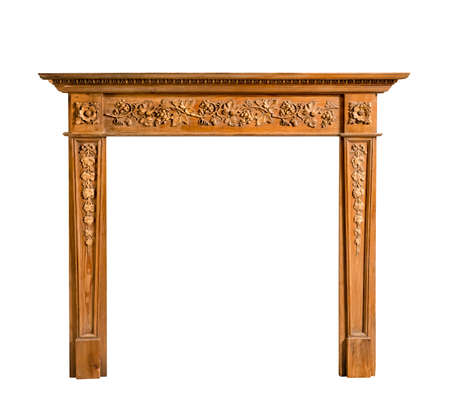 fire surround: Old antique fireplace surround in pine and Adams style with plasterwork and carving isolated on white with clipping path
