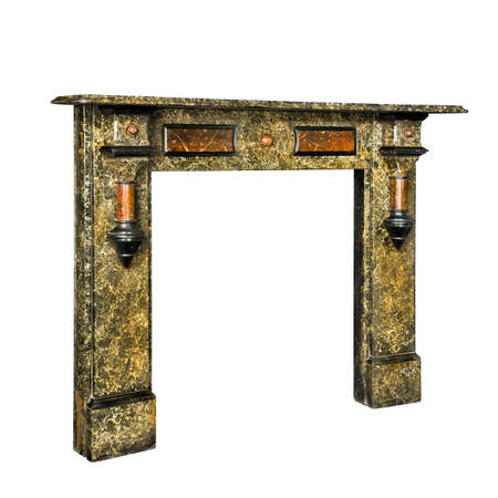 fire surround: Viatorian fire surround in marble multi coloured isolated with clipping path Stock Photo