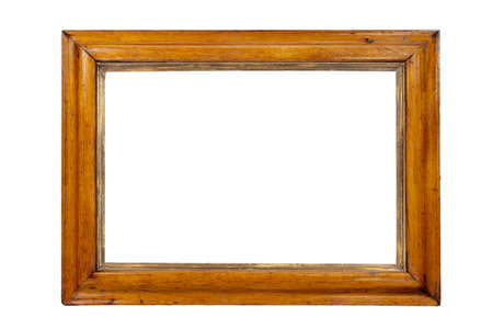 old picture: Light coloured wooden picture frame isolated with inner and outer clip paths Stock Photo