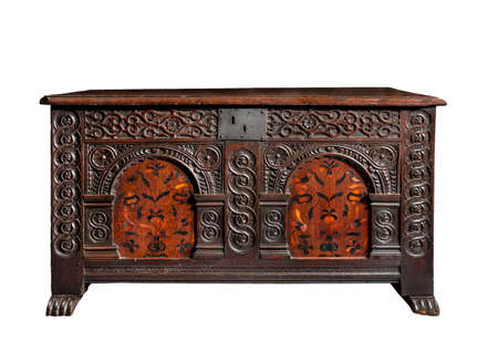 marquetry: Old chest trunk early carved inlaid marquetry