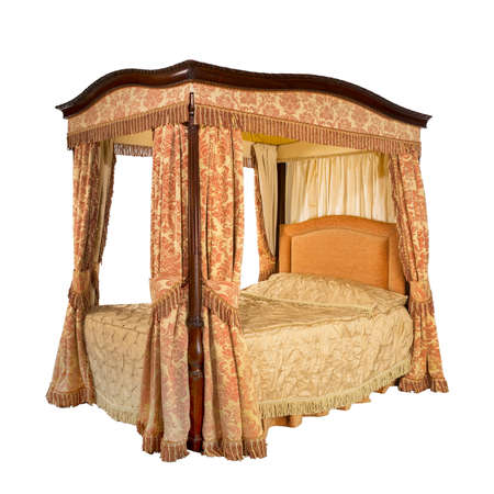 four poster bed: Old vintage four poster bed with drapes and curtains isolated on white with clipping path