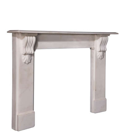Fireplace surround antique original Victorian in white marble isolated with clipping path