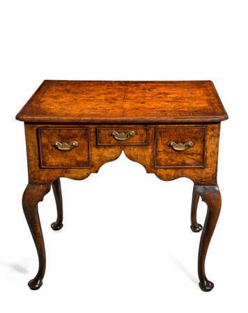 vintage furniture: old vintage antique small table with draws in walnut with brass handles