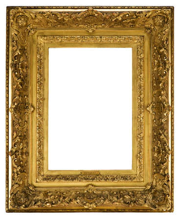 ornately: Old antique picture frame ornately detailed and gilded for canvas painting or a mirror to hang on the wall