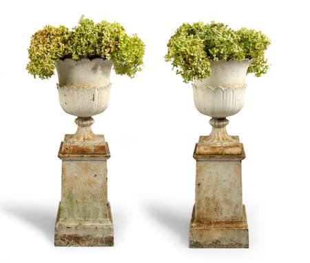 antique vase: Old antique cast iron painted garden urns on plinths little rusty and flaking paint isolated on white
