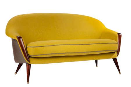 old sofa: Bright coloured yellow sofa retro style isolated on white