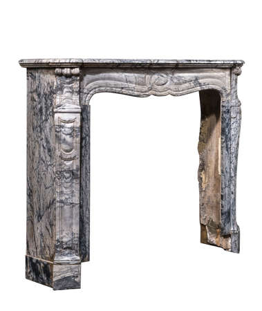 fire surround: Victorian fire surround in striking veined marble isolated on white