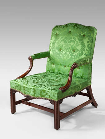 upholstered: Antique armchair upholstered on white background chippendale style
