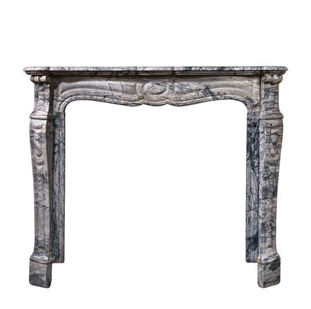 Victorian fire surround in striking veined marble isolated on white