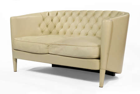 Genial Unusual Retro Style Antique Cream Leather Sofa Isolated On White Stock  Photo, Picture And Royalty Free Image. Image 44140455.