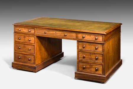old desk: Antique gentlemans partners desk leather top