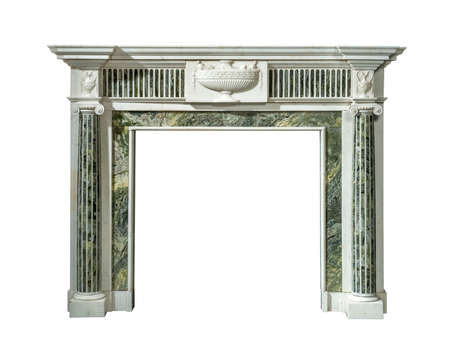 inlaid: Victorian fire surround in white and green inlaid striking veined marble isolated