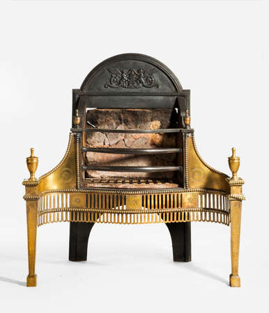 victorian fireplace: Antique fireplace grate with large back plate and brass decoration victorian for medium fire places isolated on white