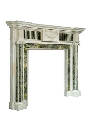 victorian fireplace: Victorian fire surround in white and green inlaid striking veined marble isolated