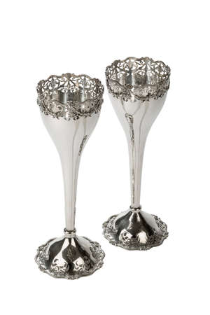 chalices: pair beautiful silver wine goblets or Chalices for ceremony possibly the Church